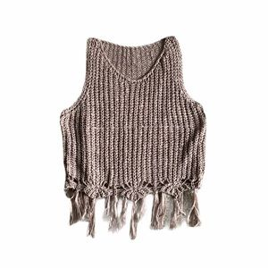 Boho Knit Crochet Crop Fringe Taupe Tank Top